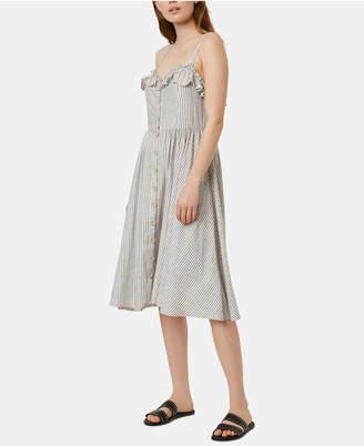 French Connection Laich Striped Ruffled-Trim Midi Dress