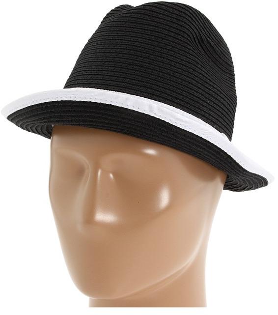 Steve Madden Fedora w/ Colored Band (Black/White) - Hats