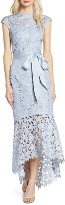 Chi Chi London Willa High/Low Laser Cut Lace Gown