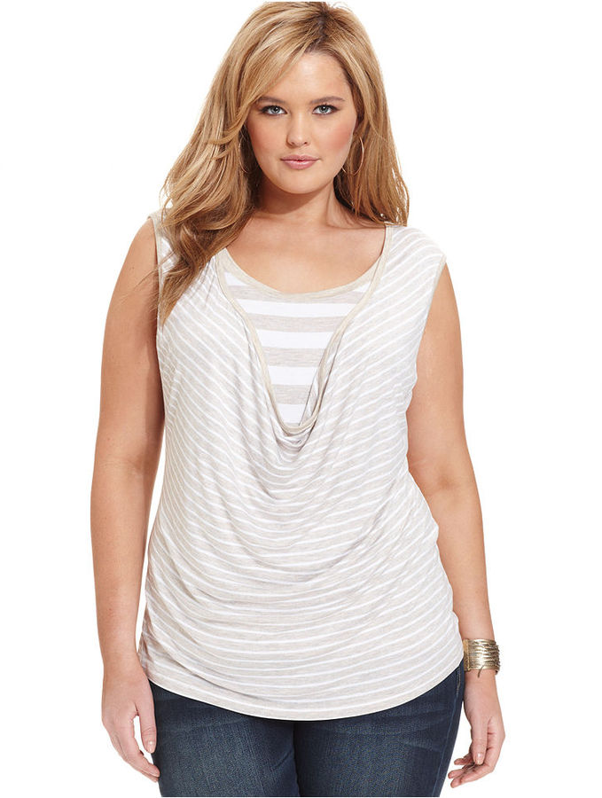 Cha Cha Vente Plus Size Top, Sleeveless Striped Drape-Neck