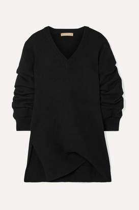 Michael Kors Asymmetric Ruched Cashmere Sweater - Black