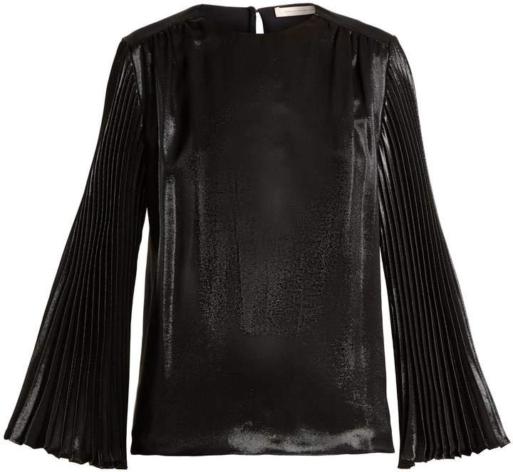 Christopher Kane Pleated-sleeved silk-blend top