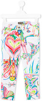 Roberto Cavalli floral trousers - kids - Cotton/Spandex/Elastane - 4 yrs