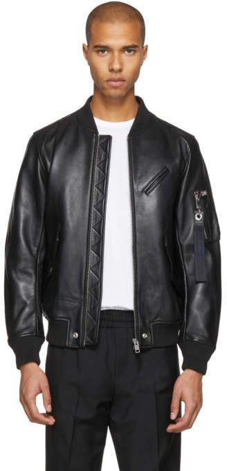 Diesel Black Leather L-Wildfire Bomber Jacket