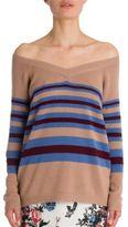 Valentino Off-The-Shoulder Stripe Cashmere Sweater