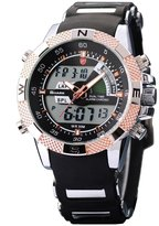 Shark Men's Sport Dual Time LCD Display Alarm Chronograph Analog Digital Quartz Wrist Watch Golden Dial SH045