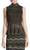 M Missoni Sleeveless Solid Lurex® Openwork Peplum Top, Black