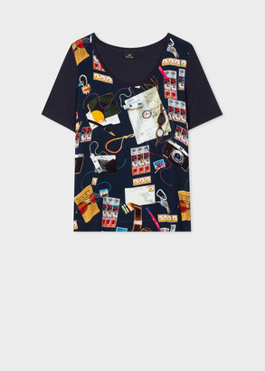 Paul Smith Women's Navy 'Explorer' Print Modal-Blend T-Shirt