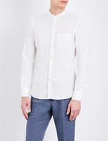 SLOWEAR Collarless striped cotton shirt