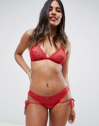 Asos Design DESIGN Yasmin geo lace & trim triangle bra-Red