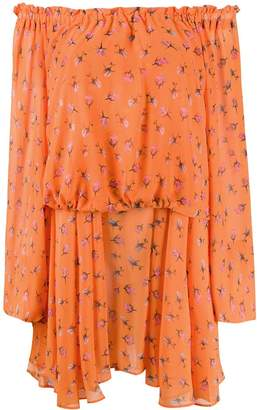 ROTATE rose print off-shoulder dress