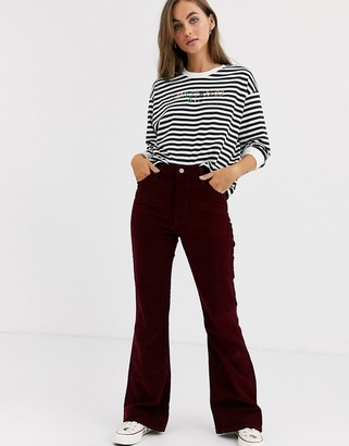 Levi's Ribcage flare jeans in red corduroy