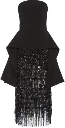 Christian Siriano Sequined Strapless Peplum Jersey Dress
