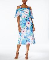Nine West Floral-Print Cold-Shoulder Midi Dress