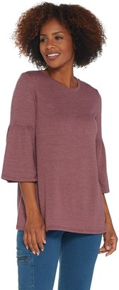 Denim & Co. Heavenly Jersey Round Neck 3/4- Bell Sleeve A-Line Top