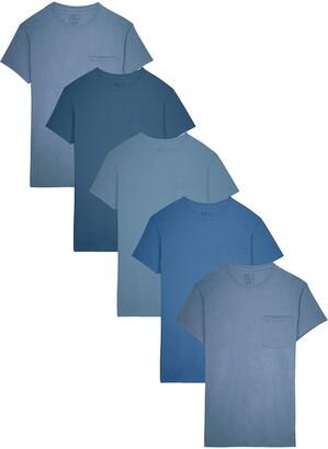 Fruit of the Loom Men's 5-Pack Tonal Blue Pocket T-Shirt