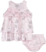 Petit Lem Swan Poem Dress & Diaper Cover (Baby) - Pink-3 Months