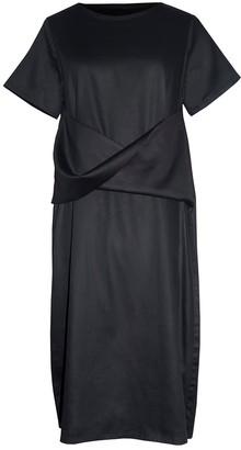 Keegan Black Cotton Short Sleeved Dress With Twist Waist