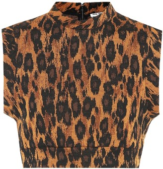 Miu Miu Leopard-printed wool-blend crop top