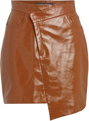 ZEYNEP ARCAY Asymmetrical Patent Leather Mini Skirt