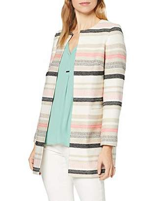 Jacques Vert Women's Textured Not Applicable #4130 Striped Round Collar Long Sleeve Jacket,8