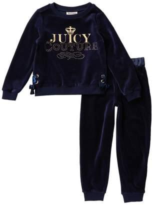 Juicy Couture Studded Velour Sweatshirt & Joggers Set (Little Girls)