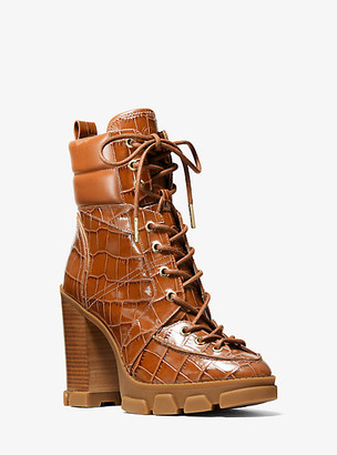 Michael Kors Ridley Crocodile Embossed Leather Lace-Up Boot