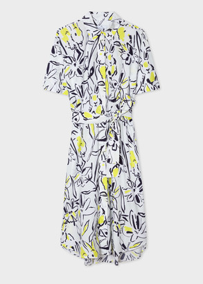 Paul Smith Women's White 'Ink Lucky' Print Cotton Shirt Dress