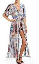 Stilletto's Patchwork Print Kimono Sleeve Maxi Romper