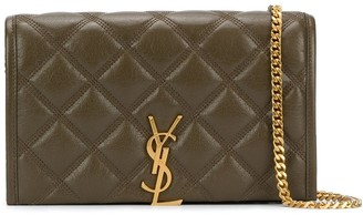 Saint Laurent Becky quilted wallet on chain