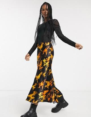 Weekday flame print satin midi skirt in black-Multi
