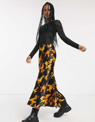Weekday flame print satin midi skirt in black
