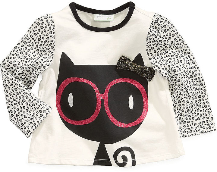 First Impressions Baby Shirt, Baby Girls Long-Sleeved Eyeglass Cat Top