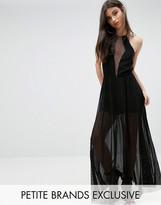 John Zack Petite Sheer Mesh Detail Maxi Dress