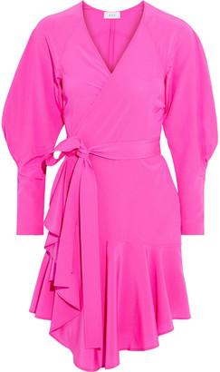 A.L.C. Enzo Neon Silk-blend Crepe De Chine Mini Wrap Dress