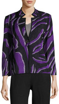 Ming Wang Graphic-Knit Notched-Collar Jacket, Multi