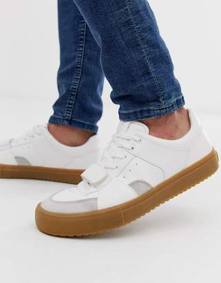 Bershka trainer with gum sole in white
