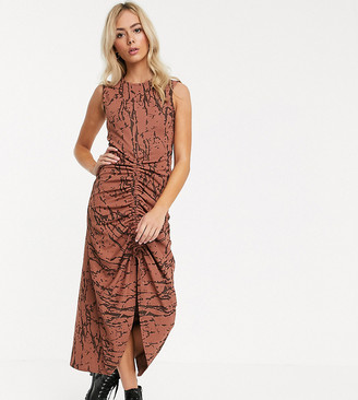 Another Reason drawstring front ruched sleeveless dress in abstract print-Brown