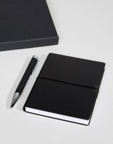 HUGO BOSS Storyline Notebook & Ballpoint Pen Set in Black