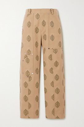 Chloé Embroidered Cotton-gabardine Cargo Pants - Beige