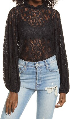 Topshop Balloon Sleeve Lace Top