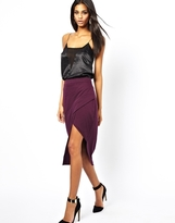 Asos Pencil Skirt with Pleat Front and Side Split - Plum