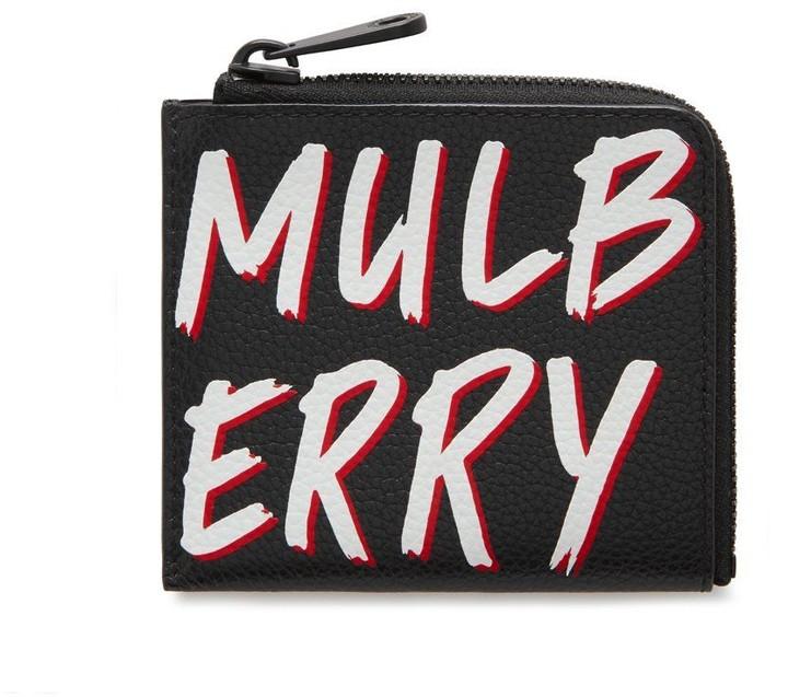 Mulberry Zipped Wallet Black Graffiti Print on Small Classic Grain