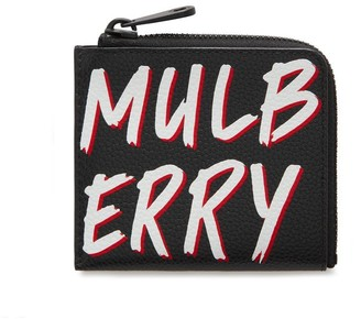 Mulberry Zipped Wallet Black Graffiti Print on Small Classic Grain