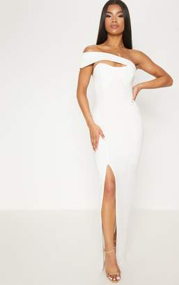 PrettyLittleThing White Cross Strap Detail Maxi Dress