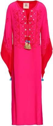 Figue Embellished Embroidered Silk Crepe De Chine Kaftan