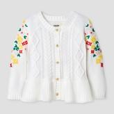 Genuine Kids from OshKosh Toddler Girls' Button Cardigan With Embroidered Mesh Sleeve - Genuine Kids® from OshKosh® Oatmeal Heather