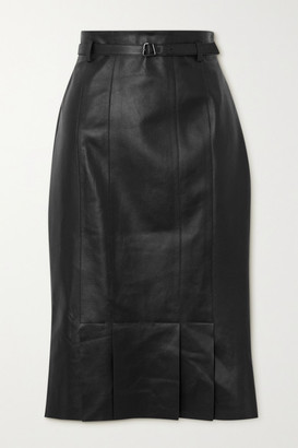 Akris Belted Leather Skirt - Black