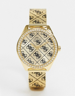 GUESS watch with all over branding
