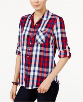 Tommy Hilfiger Plaid Roll-Tab Shirt, Only at Macy's